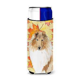 Fall Leaves Rough Collie Michelob Ultra Hugger for slim cans