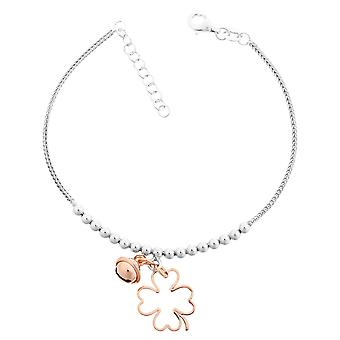 Orphelia Silver 925 Bracelet With Charm Flower White/Rose 18+2 Cm  ZA-7110