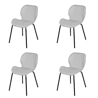 QAZQA Set of 4 Dining Fabric Chairs Light Grey and Black - Posa