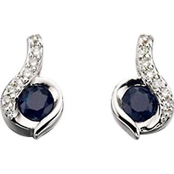 Elements Gold Skylight 9ct White Gold Sapphire and Diamond Swirl Earrings - Blue/White Gold