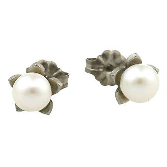 Ti2 Titanium Small Flower and Pearl Stud Earrings - Natural Cream