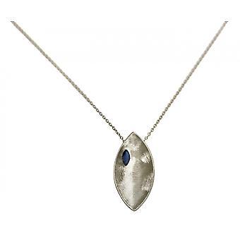 Gemshine - Damen - Halskette - Anhänger - 925 Silber - Marquise - Minimalistisch - Design - Iolith - Blau - 45 cm