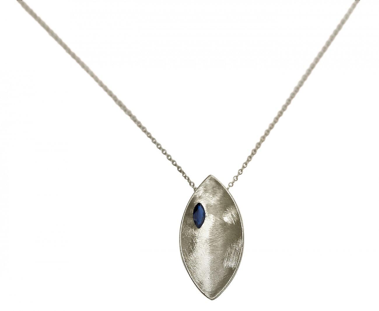 Gemshine - femmes - Halskette - Anhänger - 925 argent - Marquise - Minimalistisch - Design - Iolith - bleu - 45 cm