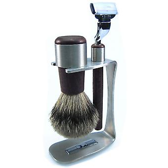 Shaving set 3-piece, stainless steel with Wenge, brush with Badger plucking hair, razor Mach3 blade
