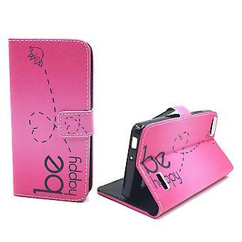 Handyhülle Tasche für Handy Huawei G Play Mini Be Happy Pink