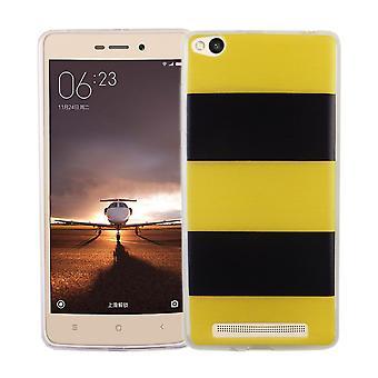 Handy Hülle für Xiaomi Redmi 3 Cover Case Schutz Tasche Motiv Slim Silikon TPU Gelb / Schwarz