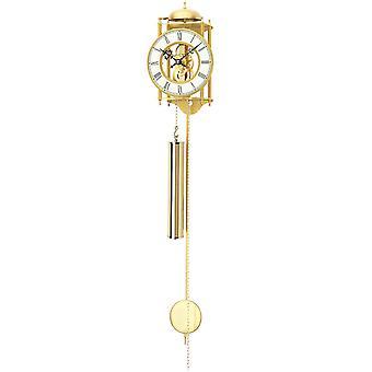 Casa pendolo orologio da parete con cassa del pendolo, ottone lucido