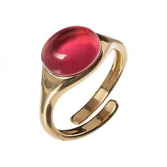 GEMSHINE Damenring 925 Silber, vergoldet oder rose mit rotem fuchsia Quarz Edelstein - Größenverstellbar - Nachhaltiger qualitätsvoller Schmuck Made in Spain