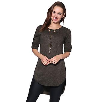 KRISP Longline Jumper Top with Necklace