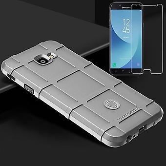 Für Samsung Galaxy J4 Plus J415F 2018 Shield Case TPU Silikon Grau + 0,26 mm 2.5D H9 Hartglas Tasche Hülle Cover Hülle
