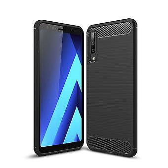 Samsung Galaxy A7 2018 TPU Case Carbon Fiber Optik Brushed Schutz Hülle Schwarz