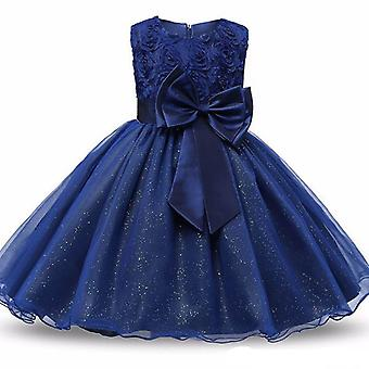 Princess dress with rosette and Flowers-Blue