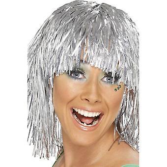 Corti d'argento dritto parrucca, parrucca Cyber Tinsel 1980 ' s Fancy Dress