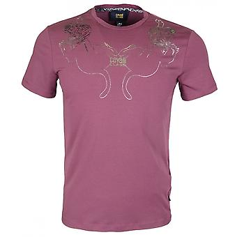 Cavalli Class Costina Stretch Cotton Jersey Violet T-shirt