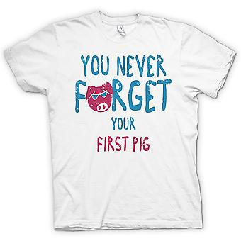 You Never Forget Your First Pig - Funny Crude - 100% Cotton Short Sleeve Ladies T Shirt