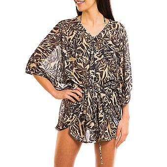 Kiniki Luanda Tan Through Beach Poncho Womens Swimwear