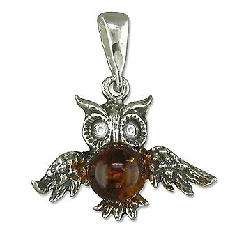 TOC Sterling Silver Cognac Amber Owl Pendant on 18 Inch Chain