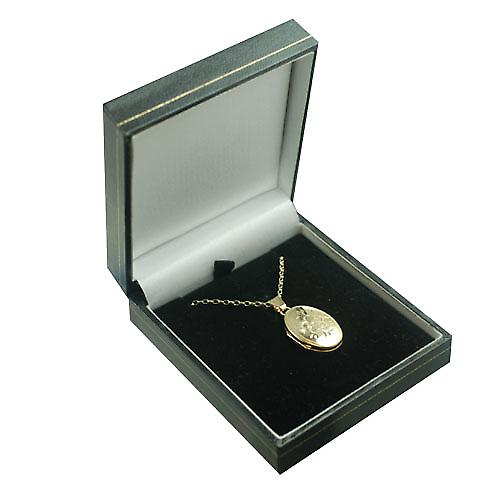 9ct Gold 22x15mm hand engraved flower oval Locket with a belcher Chain 16 inches Only Suitable for Children
