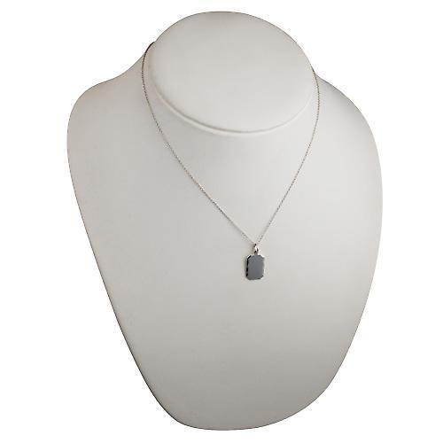 Silver 18x12mm diamond cut edge cut corner rectangular Disc with a rolo Chain 18 inches