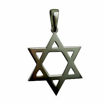 Silver 37x37mm plain Star of David Pendant