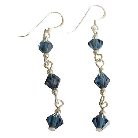 Black Diamond Crystals w/ Sterling Silver French wire Earrings