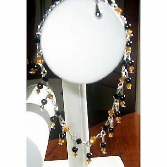 Vintage Style Topaz & Jet Swarovski Crystals Bracelet