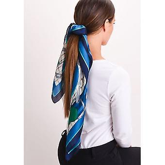 Quadrato in seta raso testa sciarpa cavallo stampa azzurro dell'alzavola