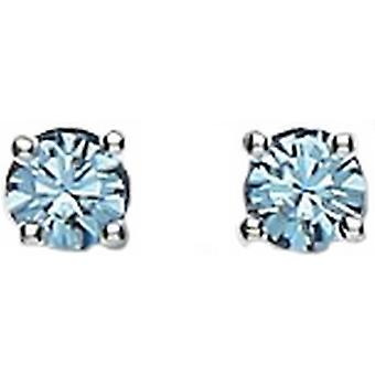 Bella 4mm Cubic Zirconia Stud Earrings - Silver/Blue