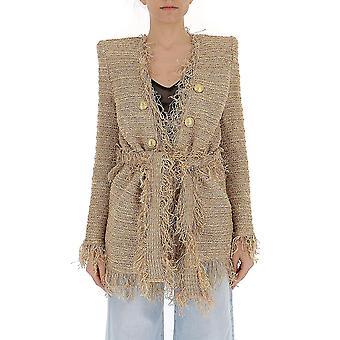 Balmain Beige sidenklänning
