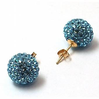 The Olivia Collection 9ct Yellow Gold Blue Crystal Disco Ball Earrings