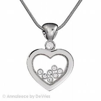 Annaleece Silvertone Heart Pendant With Swarovski Elements On 16/18 Inch Chain