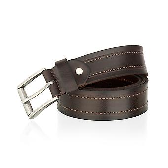Brown 38mm Casual Adjustable Double Stitch Jean Belt
