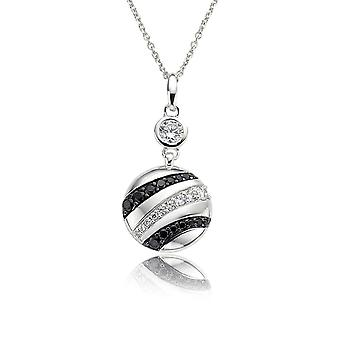 PENDANT WITH CHAIN 925 SILVER BLACK&WHITE ZIRCONIUM