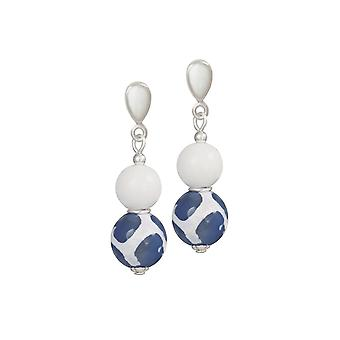 Eternal Collection Portamento White Jade And Blue Agate Beaded Drop Clip On Earrings