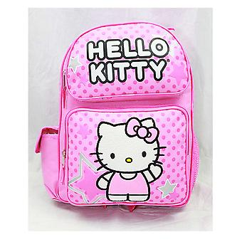 Backpack - Hello Kitty - Pink Stars & Dot Sitting (Large School Bag) New 81397