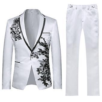 Allthemen Hommes Tuxedos 2-Pieces Suits Applique Wedding Party Dinner Blazer-Pantalon