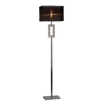 Diyas Florence Renctangle Floor Lamp With Black Shade 1 Light Polished Chrome/Crystal