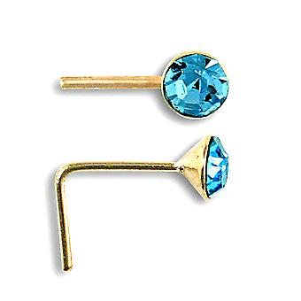 Jewelco London Ladies Solid 9ct Yellow Gold Light Blue Round Cubic Zirconia Solitaire Nose Stud