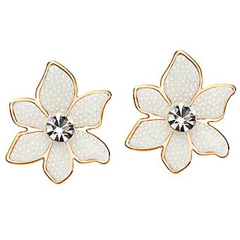 14K Gold Plated 6 Petals Simulated Pearl Earrings, 2.7cm