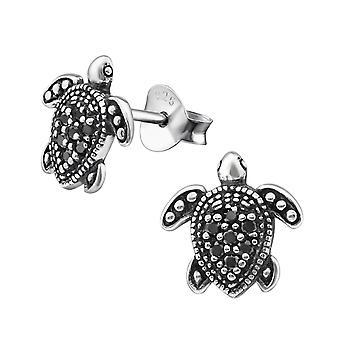 Turtle - 925 Sterling Silver Cubic Zirconia Ear Studs - W30818X