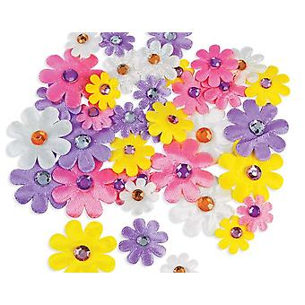 36 verschiedene selbstklebende Stoff Daisy Formen mit Juwel-Zentren