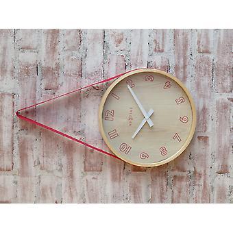 NeXtime - Wall clock- Ø 26 cm – Wood/Fabric– Red – 'Loop Small'