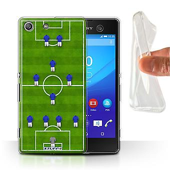 STUFF4 Gel/TPU Case/Cover for Sony Xperia M5/4-1-2-1-2/Blue/Football Formation