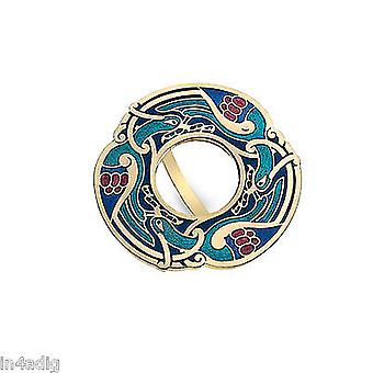 Celtic Birds Gold Tone Enamel Scarf Ring Gift Boxed