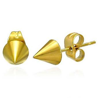 Urban Male Gold Plated 5mm Stainless Steel Spike Stud Earrings