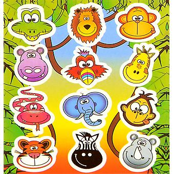 12PK OF JUNGLE ANIMA STICKER SHEETS (144 Stickers) Party Loot Bag Fillers
