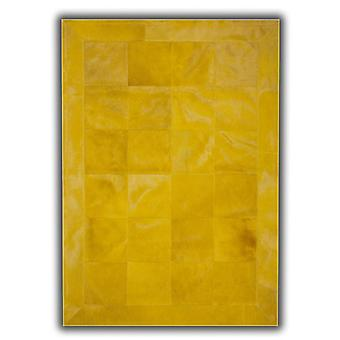 Rugs - Patchwork Leather Cubed Cowhide - Plain Yellow with Border