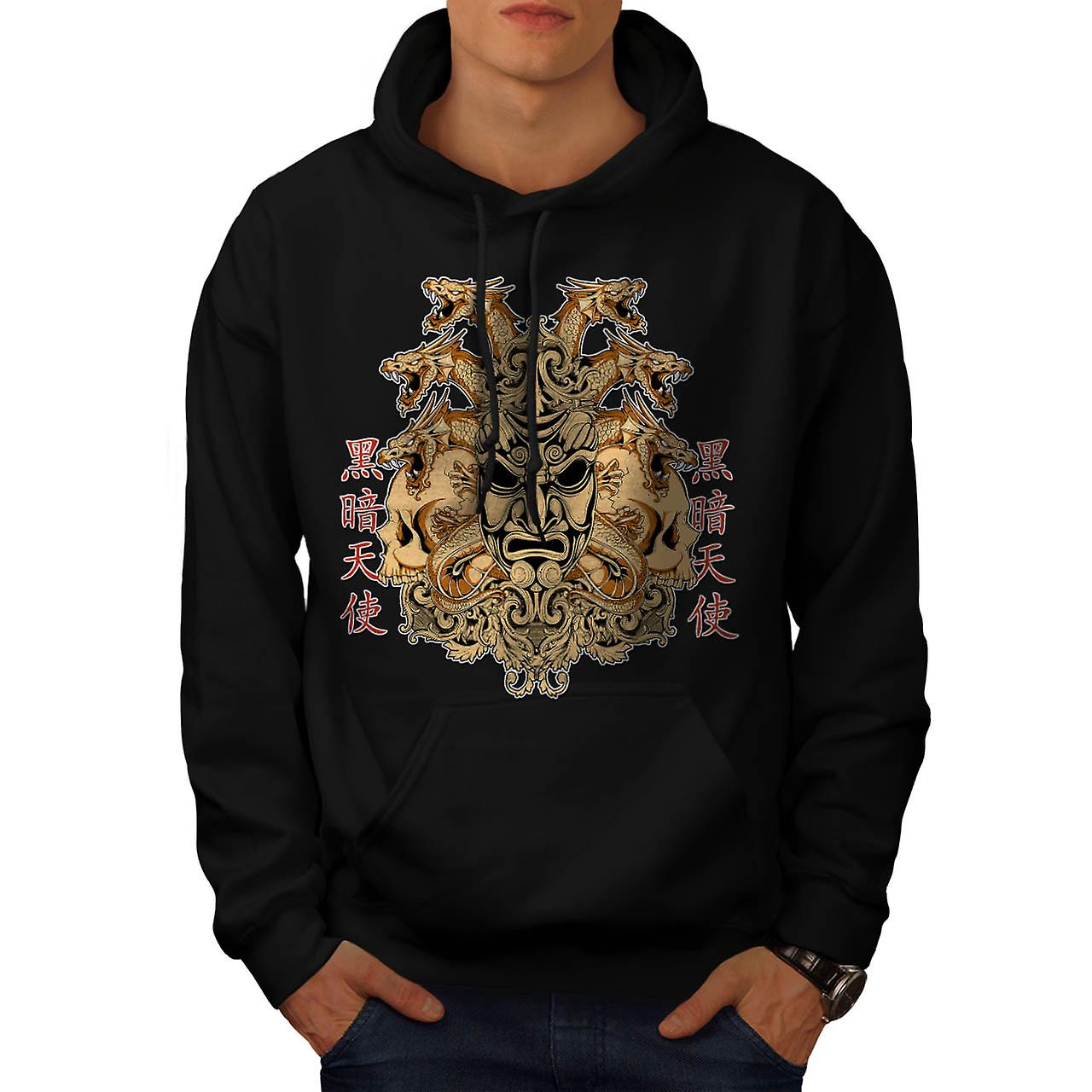 Chinese Parade Mask Horror Face Men Black Hoodie | Wellcoda