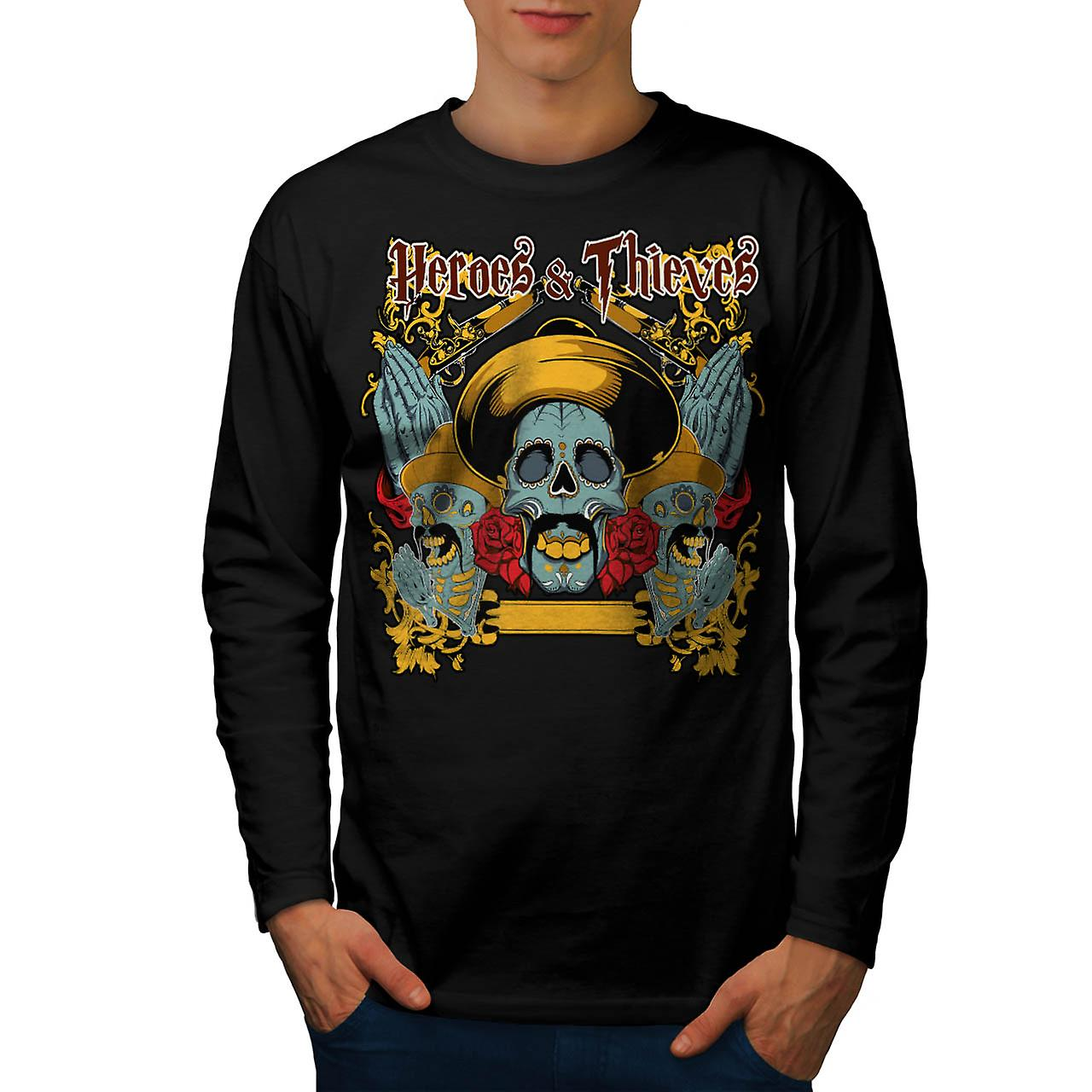 Heroes Thieves Mexico Dead Skull Men Black Long Sleeve T-shirt | Wellcoda