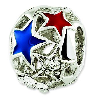 Sterling Silver Polished Antique finish Reflections Enameled Stars Bead Charm